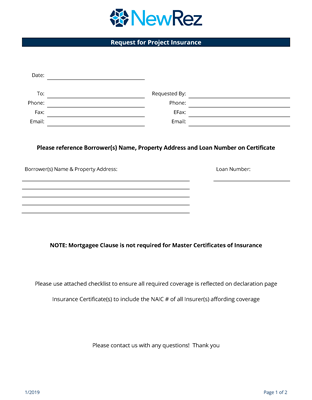 Project Insurance Request Form