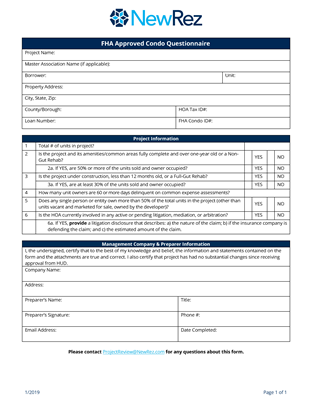 FHA Approved Condo Questionnaire