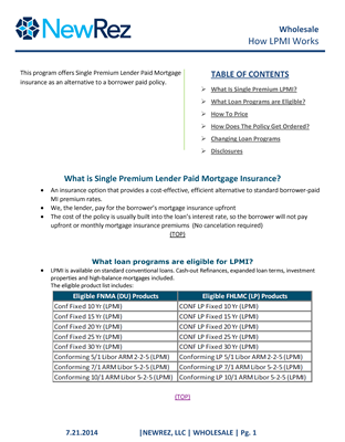 LPMI Loan Program - How It Works