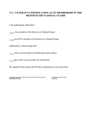 VA Reserves - National Guard Form