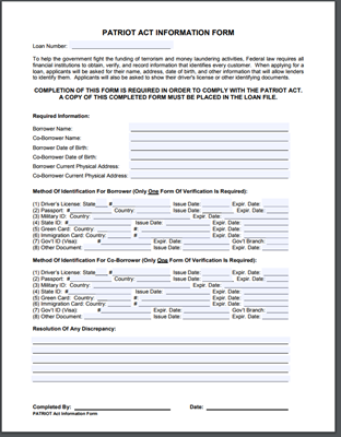 Patriot Act Form