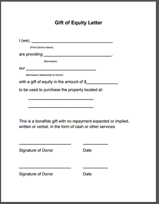 Gift of Equity Letter