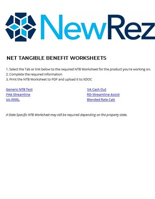 Net Tangible Worksheet